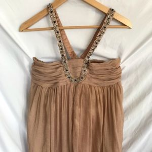 Forever 21 Dresses - Champagne Crinkle Chiffon Halter Party Dress Sz M